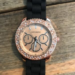 🆕 Concepts rose gold watch with black rubber band